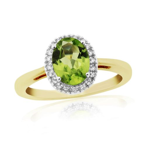 Peridot Yellow Gold  Oval Cluster Ring